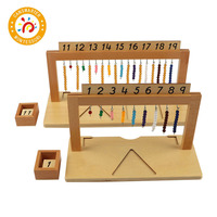 Montessori Materials Wooden Baby Toy Colored Bead Stair Hanger Colored Bead Stairs Kids Toys