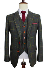 Wool Green Ckeck Tweed Custom Made Men suit Blazers Retro tailor made slim fit wedding suits for men 3 Piece cheap BD tailormade skinny Zipper Fly 3 pieces(Jacket Pant Vest) Single Breasted England Style men suit 002 Retro gentleman British style