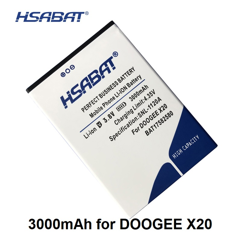 Details about HSABAT BAT17582580 3000mAh Battery for DOOGEE X20 within  tracking number
