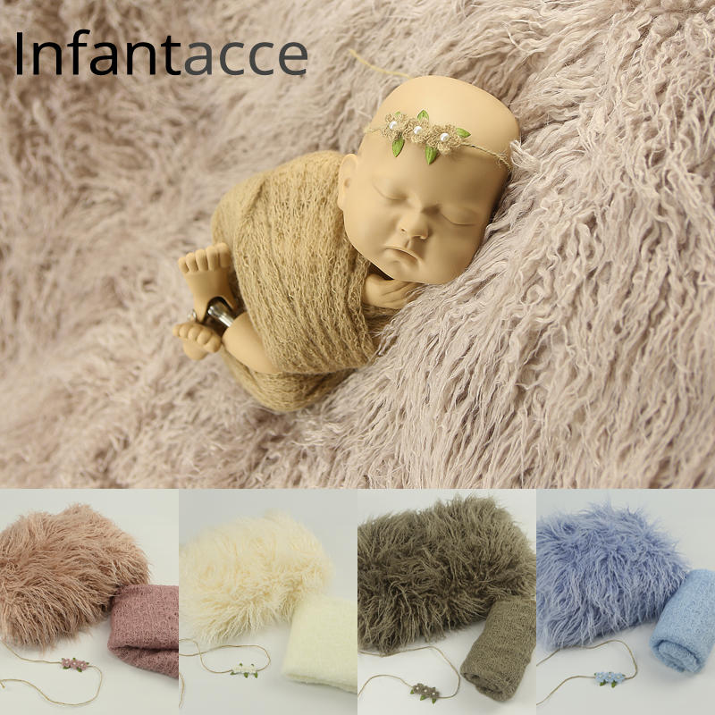 newborn photography props blanket backdrops background faux fur baby photo prop mohair warp hairband set headband stretchy wraps