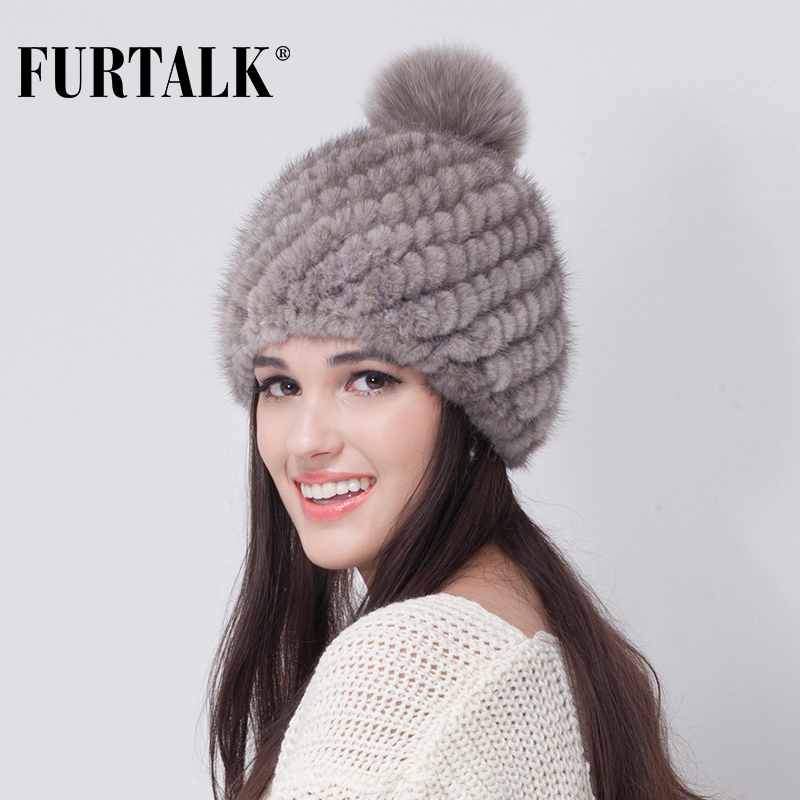 Knitting Pattern Russian Hat : Aliexpress.com : Buy FURTALK Russian Real mink fur hat for women winter knitt...