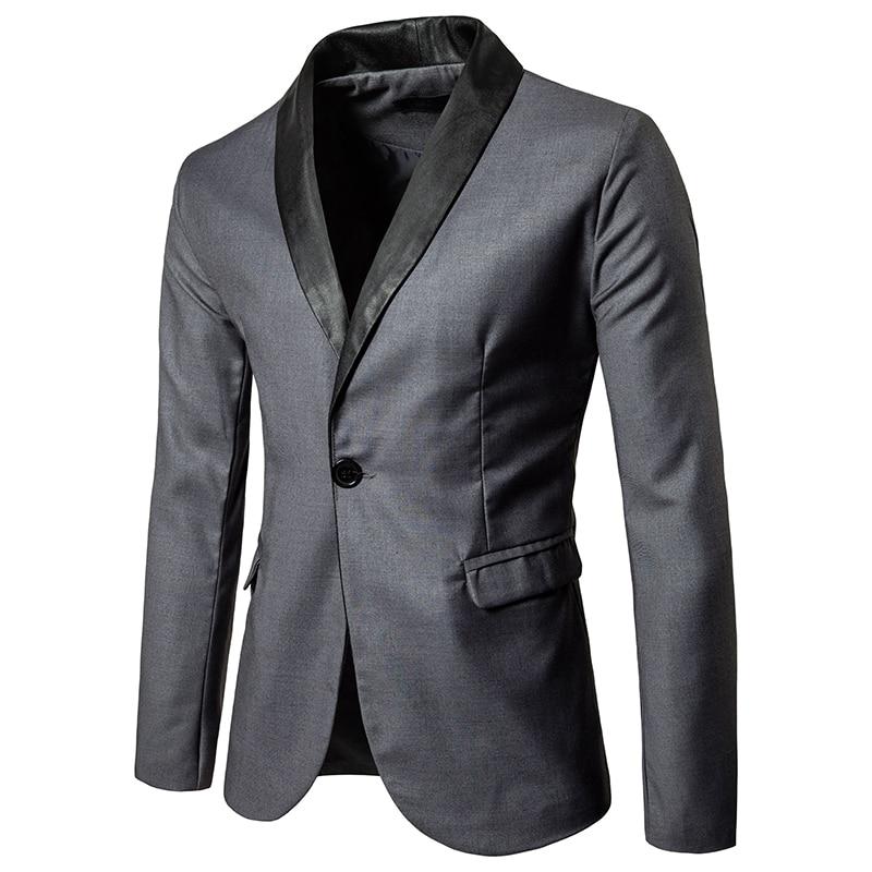 Mens Suits Blazers Suit Lapel Feature Leather Stitching Large Pocket Fashion British Style Solid Color Men's Suit Blazer Homme