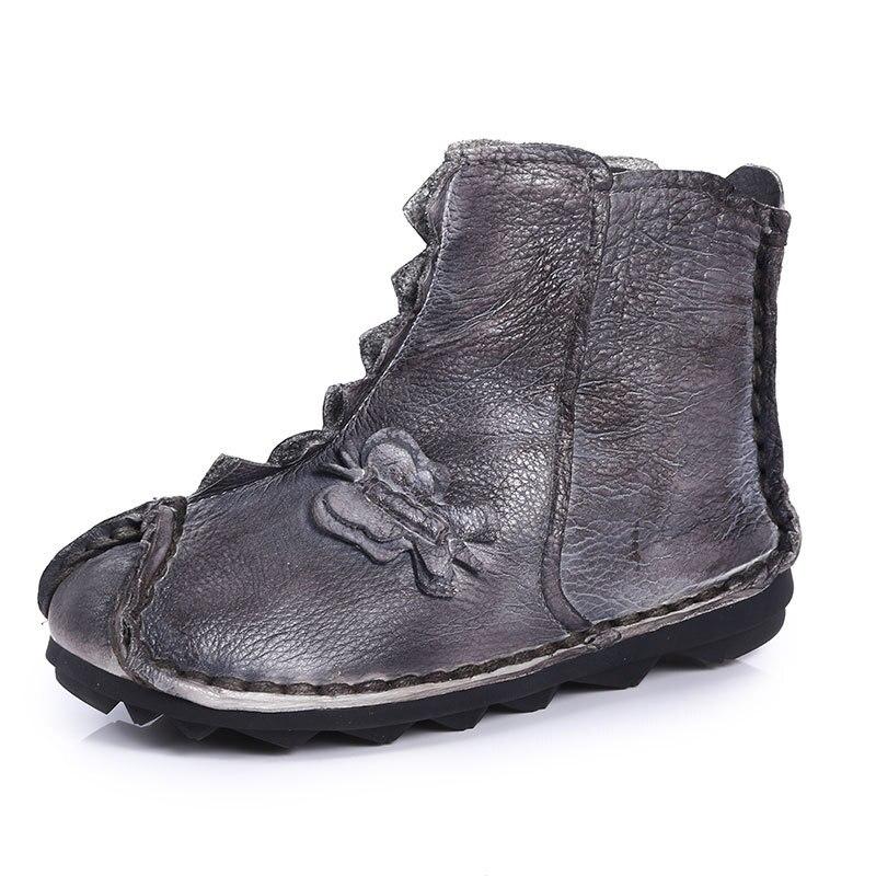 Der grau Stil Leinen Weichen Neue Hand Retro genäht Schuhe Boden Frauen Stiefel Kleidung Und Farbe Brown 2018 Knöchel Baumwolle Leder aHq4xwHZ