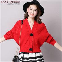 Women jacket Fashion style bat sleeve short tops Cute blouse v neck coat Solid color fabric