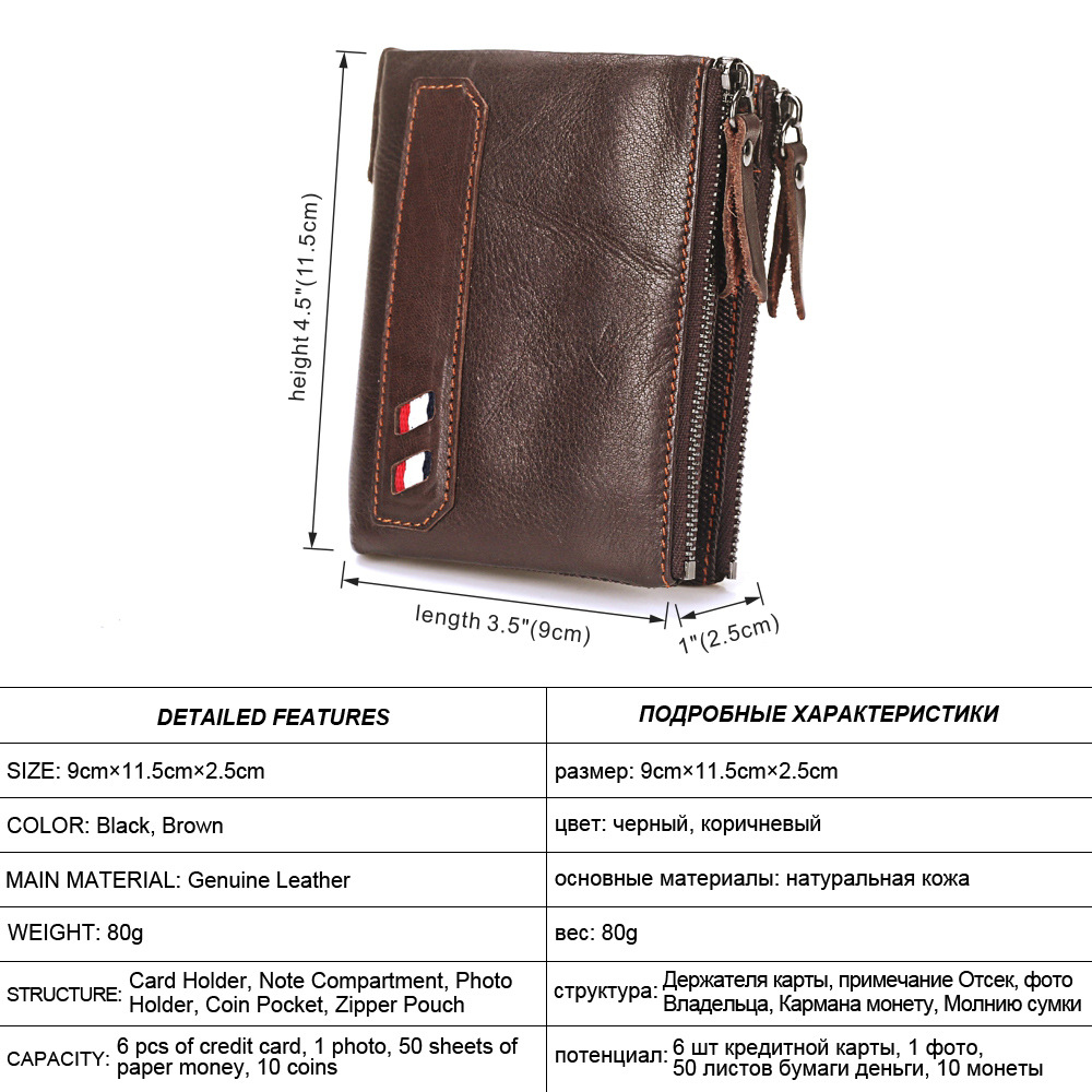 Crazy Horse Genuine Leather Men Wallets Small Credit Business Card Holders