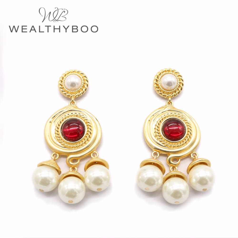 WEALTHYBOO 2018 New Arrival Grain Metal With Pearl Spiral Metal Red Cabs/ Pearl Drop Earring For Women Fashion Jewelry
