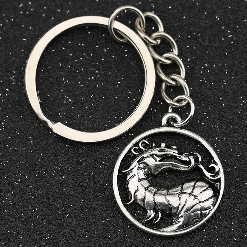Брелок для ключей Mortal Kombat с символом дракона, брелок серебряного цвета в античном стиле с логотипом скорпиона, кольцо для ключей, Винтажные ...