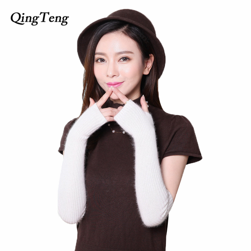 QingTeng Touchscreen Driving Ladies Cashmere Long Mink <font><b>Gloves</b></font> Winter Fingerless <font><b>Glove</b></font> White Womens Adult Knit Mittens Wholesale
