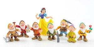 Image 2 - 8 Pz/set Biancaneve e i Sette Nani Action Figure Giocattoli 6 10 centimetri Principessa PVC bambole giocattoli di raccolta per i bambini regalo di compleanno