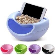 Пластиковая двухслойная коробка для хранения еды для перекуса, чаша для фруктов и держатель для мобильного телефона, 5 цветов