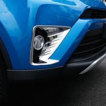 For Toyota Rav4 2017 2018 ABS Chrome Front Fog Light Head Lamp Cover Trim sticker Bezel Decorative Accessories Car styling 2pcs недорого