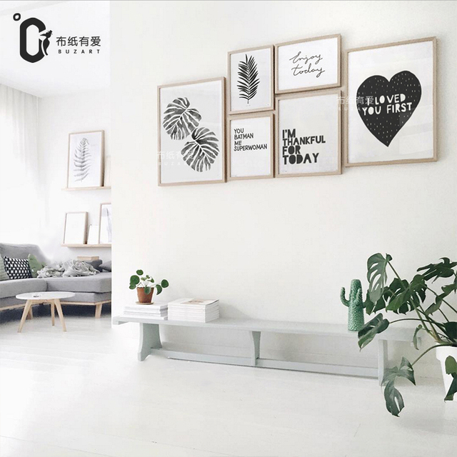 Nordic canvas art print poster wall pictures for living room decoration wall art decor black paintings no frame in painting calligraphy from home