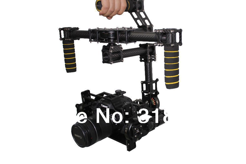 3axis DSLR Brushless Gimbal Handle Camera carbon Mount with AlexMos controller for CANON 5D MarkII