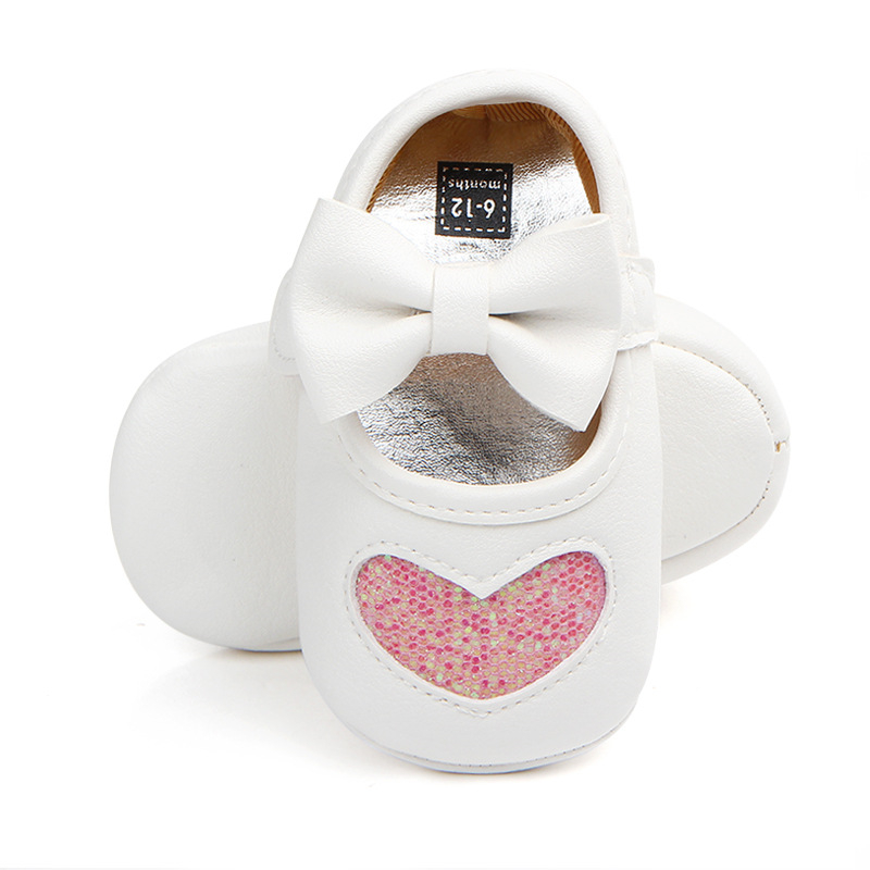 Adorable Newborn Baby Girl Shoes Soft Moccasins With Bowknot Infant Bebe Spring PU Leather First Walkers Heart Sequined | Happy Baby Mama