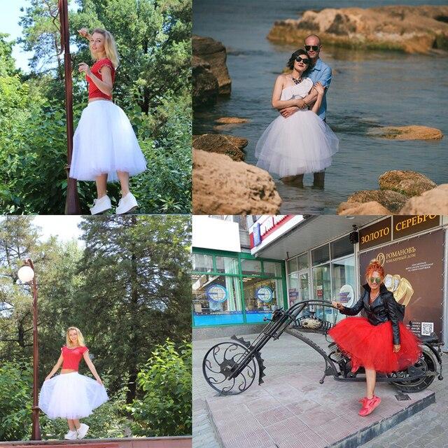 6Layers 65cm Fashion Tulle Skirt Pleated Tutu Skirts Womens Lolita Petticoat Bridesmaids Vintage Midi Skirt Jupe Saias faldas 5