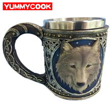 350ml Steampunk Coffee Mugs Funny Creative 3D Wolf Head Travel Stainless Steel Cool Beer Drinkware Kitchen Gadgets Accessories