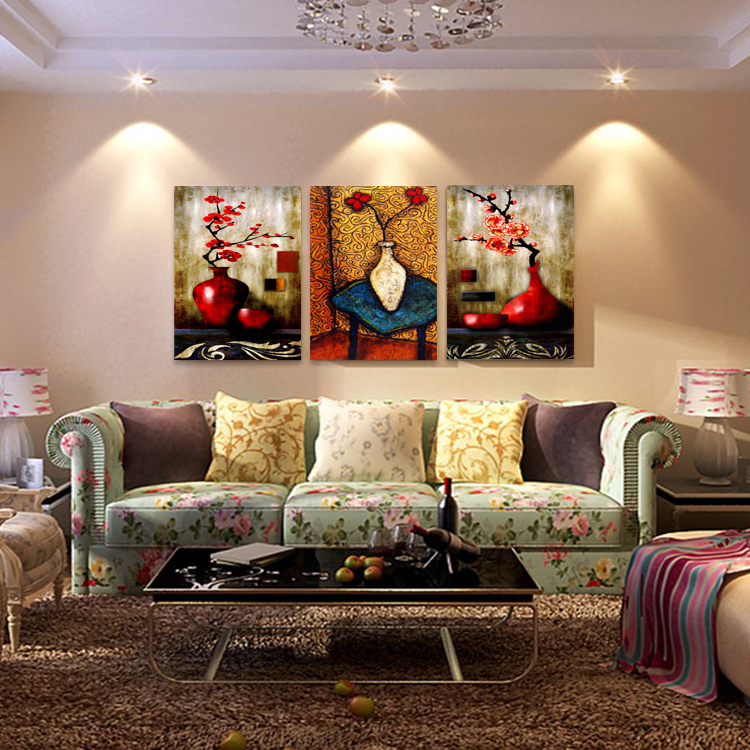 Online Shop Abstract Color Flower Decoration Painting Modern Dining Room Bedroom Wall Decor Painted Frameless Canvas Vase Oil