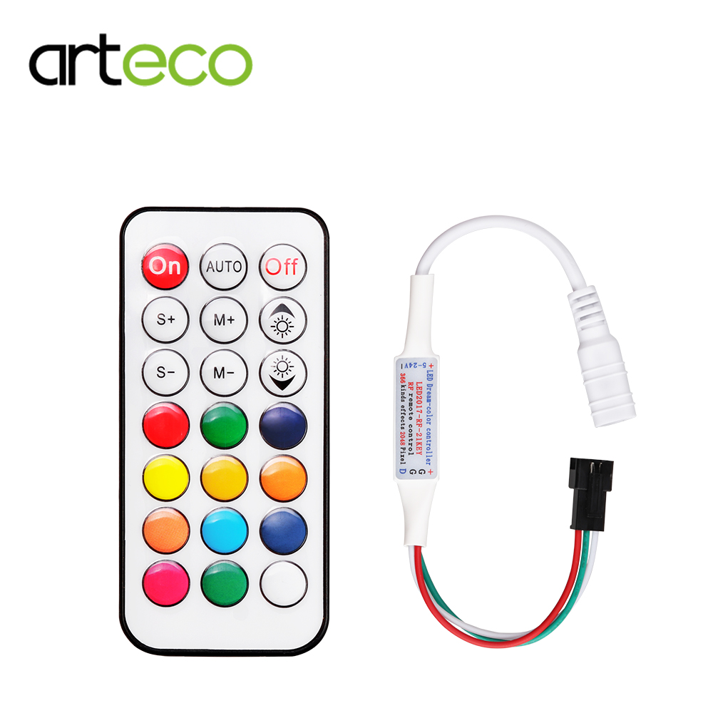 WS2812B LED Strip 21 Key RF Wireless Controller Magic RGB Light Controller With Remote Mini For SMD 5050 5630 Led Strip Lamp