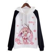 Anime Hatsune Miku Kapşonlu Cosplay Kostüm Moda Ceket Japon Kawaii Giyim Sevimli Hoodies Kadın Tişörtü