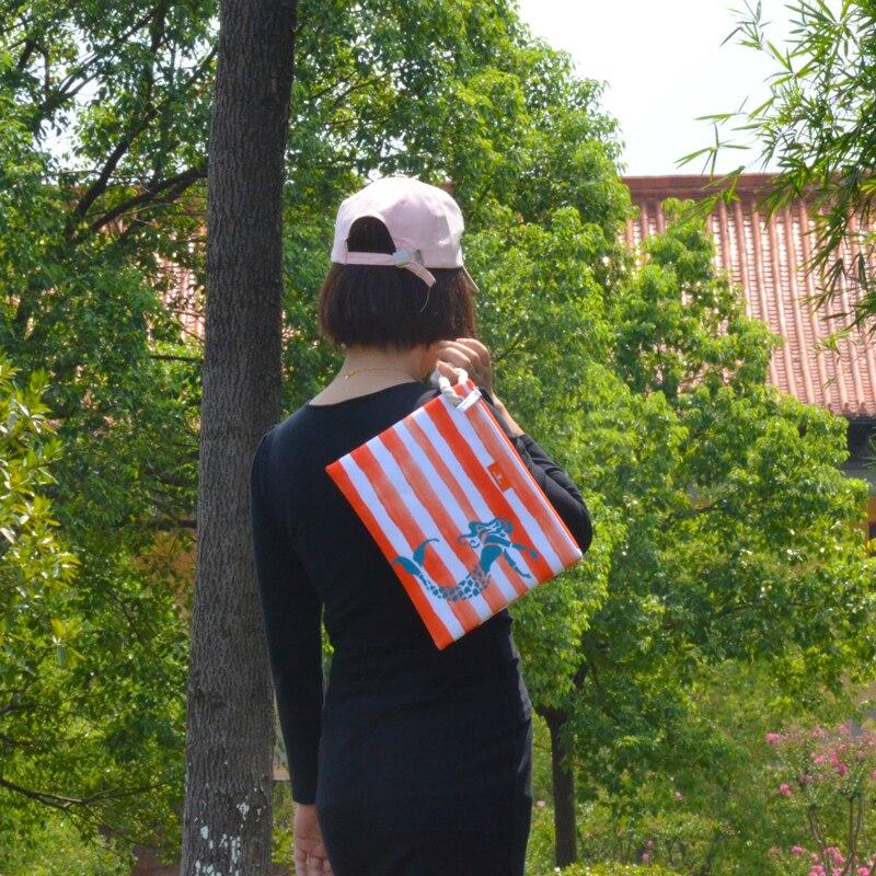 BONAMIE Summer Bikini Beach Bag For Women Handbags Coconut Tree Printed Designer Fashion Stripe Lady Clutch Bag With Hemp Rope