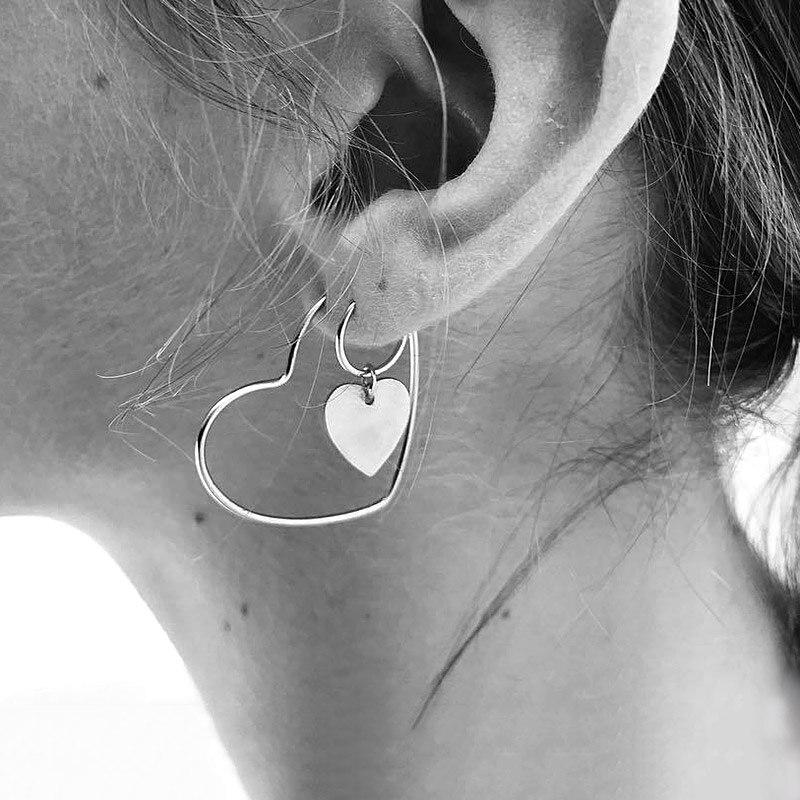USTAR Double Heart Drop Earrings for women Geometric hanging Earrings female 2018 fashion modern jewelry Oorbellen accessories monochrome