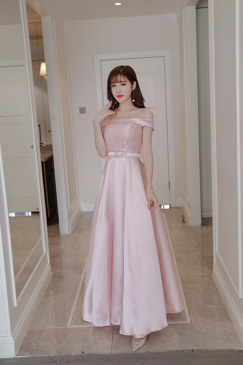 Pink Colour Satin Sleeveless Long   Dress   Off The Shoulder   Bridesmaid     Dress   Wedding Party   Dresses   for Women Back of Bandage