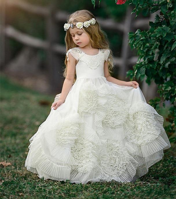 Белое Бальное Платье для девочек в цветочек платья на свадьбу для выпускного вечера Пышное платья для первого причастия для девочек вечерн