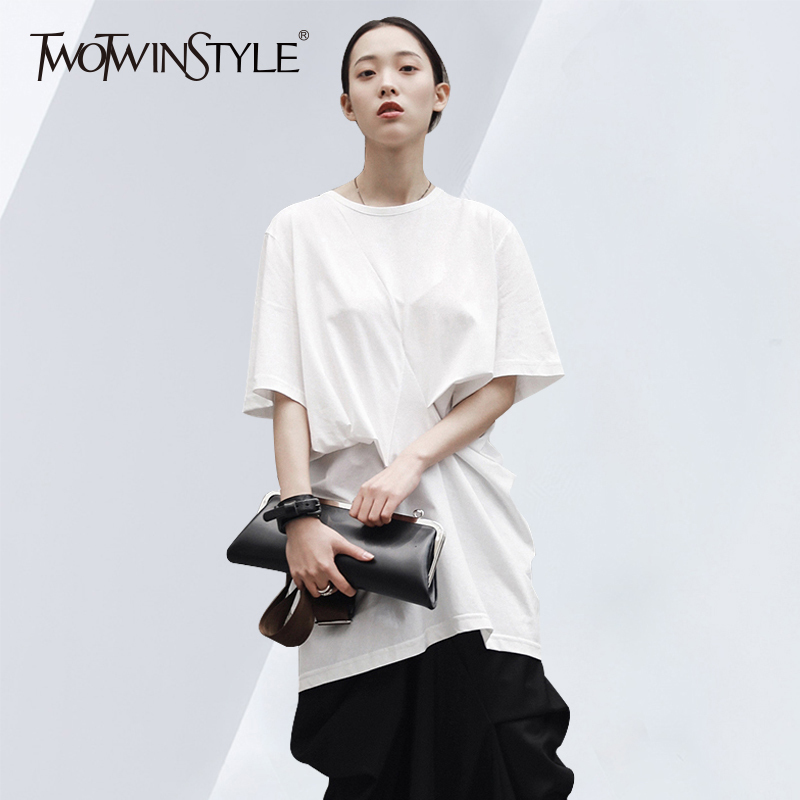 TWOTWINSTYLE Ruched Long T Shirt Female O Neck Short Sleeve Oversize Irregular T Shirts 2018 Women Summer Fashion Casual Tops
