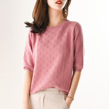 LHZSYY Spring New Womens Pure Cashmere Sweater O Neck Knit Loose Short-sleeved Shirt Solid color Wild Summer Female Half sleeve