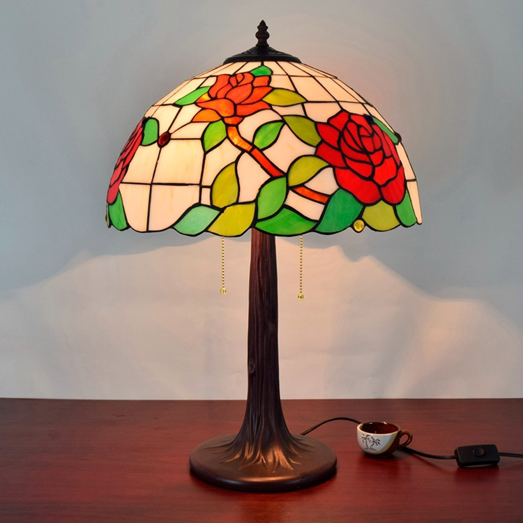American style garden rose glass personalized living room decorative table lamp European zipper 16 inch Living room bedroom lamp