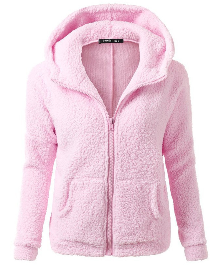 Women's Fashion Hoodie Jackets Clothing 2017 New Arrival On Sale Lady Active Pink Flannel Winter Autumn Coats Mother Clothing