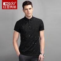 Hodo 2017 Summer Men T Shirt Brand Fashion Polka Dot T Shirt Turn Down Collar T
