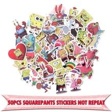 50pcs Squarepants Patrick Star cartoon DIY scrapbooking album Luggage Laptop Motorcycle notebook decal Waterproof Sticker E0056