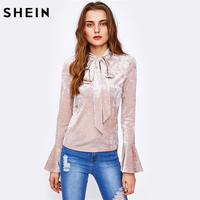 SHEIN Bow Tied Neck Flare Sleeve Crushed Velvet Blouse Solid Color Blouses Pink Band Collar Long