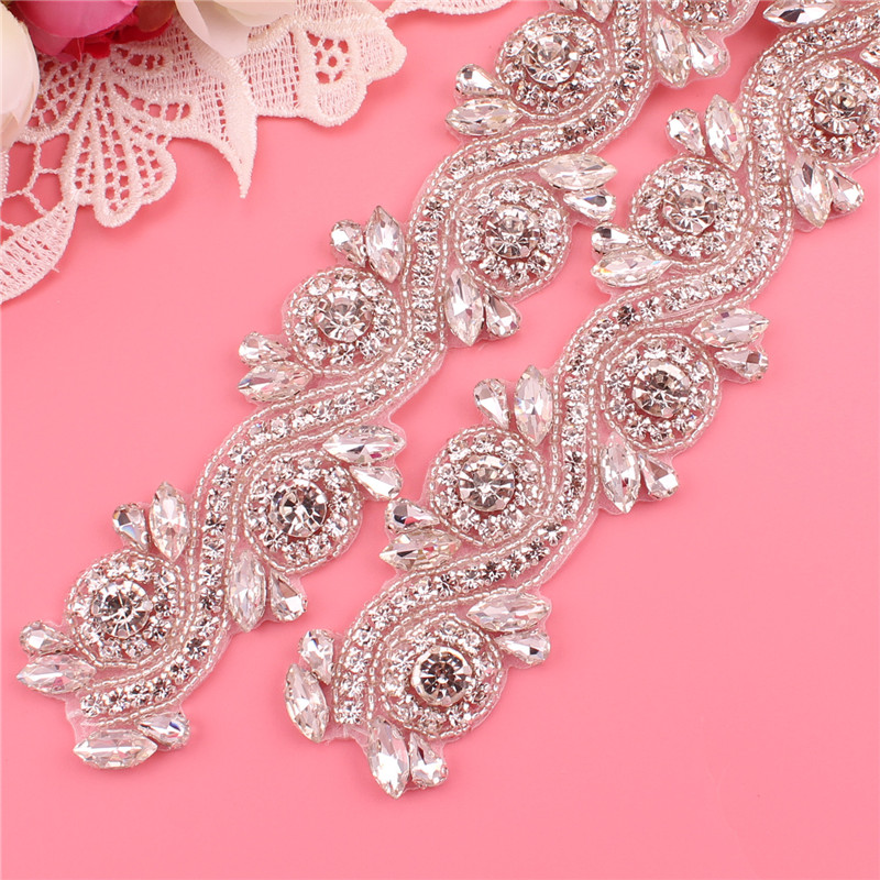 Handmade Luxury Rhinestone Applique Bride Wedding Crystal Rhinestone Belt Dress Evening Dress Waist