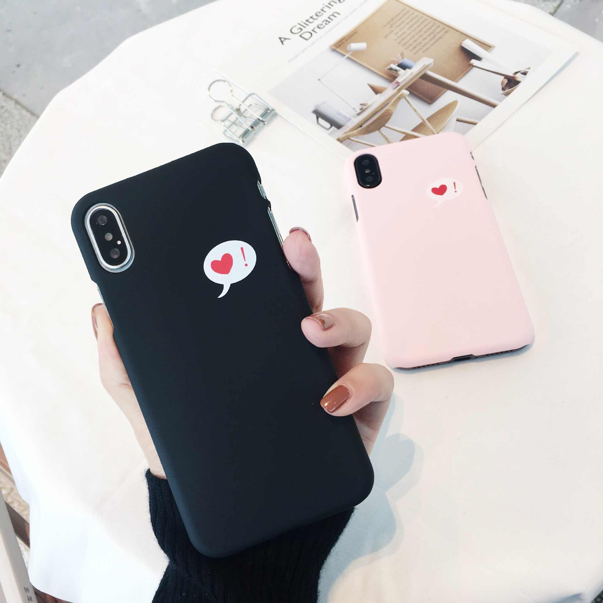Korea Simple Fresh Couple phone case For Coque iPhone 7 8 6S 6 Plus heart love q50