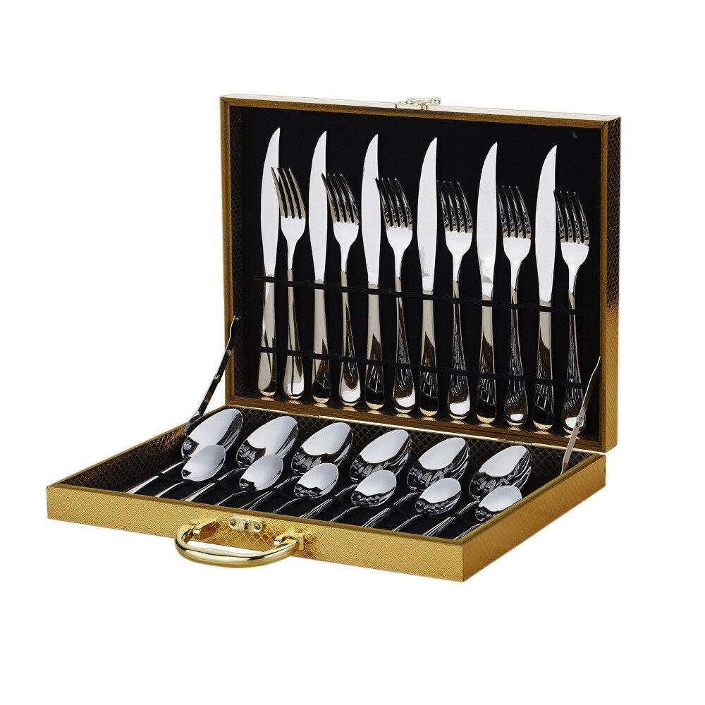 Ensemble de 24 pièces boîte en bois en acier inoxydable vaisselle ensemble 6 pour Steak et fourchette cuillère cuillère et fourchette nourriture pics fourchette en bois 3DCJS20