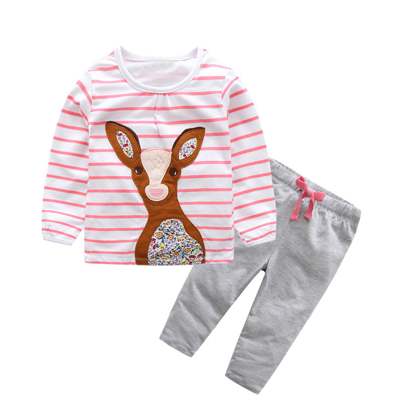 Baby Kids Pajamas Set 2018 Cute Girls Clothes Cotton Pajamas Cartoon Long Sleeve Nightwear Toddler Children Sleepwear On Sale