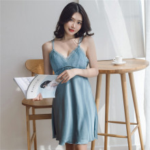 Women Sexy Sleepshirt Silk Night Gown Satin Sleep Shirt Sleeveless Home Clothes V-neck Summer Wear