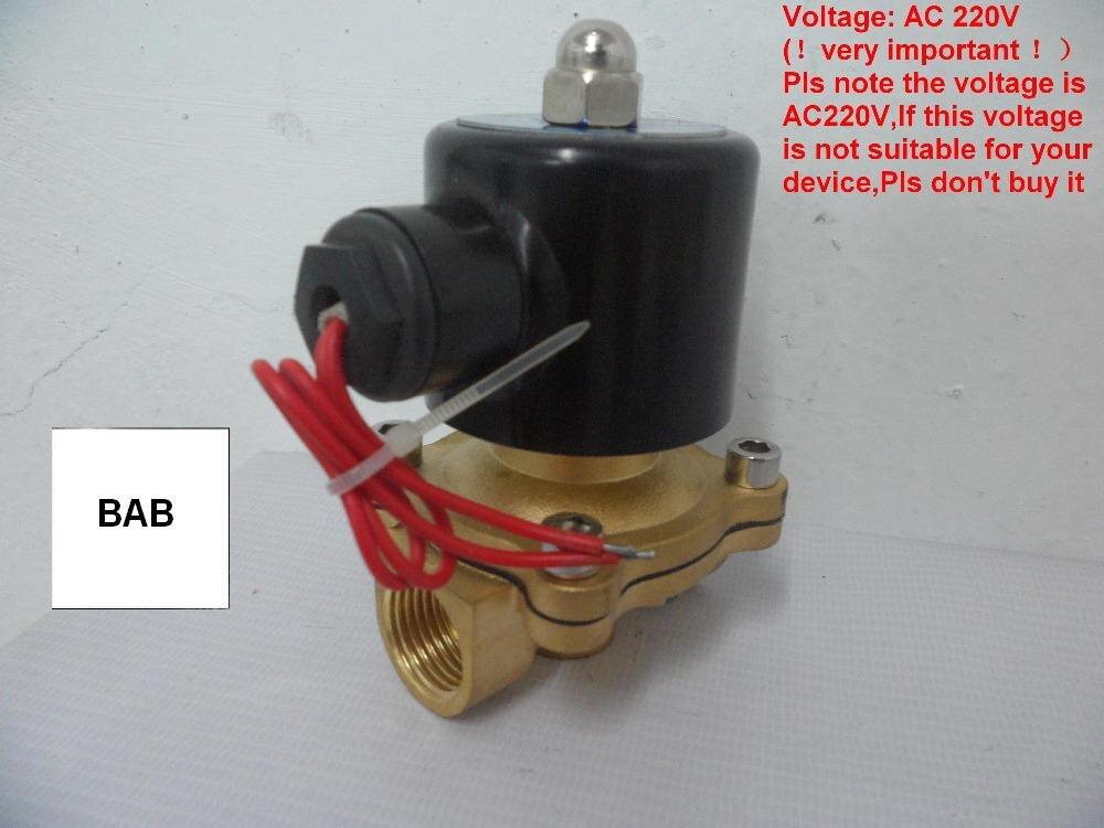 Trasporto Libero 3/4 Pollici AC220V Controllo Pneumatica Solenoide Elettrico valvola per Fredda e acqua calda, olio, aria, gas/corpo in ottone N/C a 2 vie