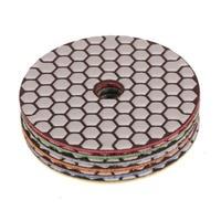 SPTA Mix Grit Premium Grade Dry 4 100mm Diamond Polishing Pads Set M14 Thread For Granite