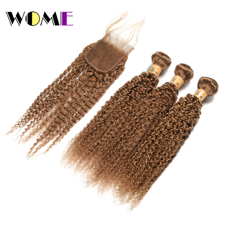 Wome Burmese Curly Bundles With Closure #27 Honey Blonde Color Human Hair Weave 3 Bundles With 4X4 Lace Closure Double Weft Hair