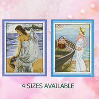 Joy Sunday Chinese calculate crossstitch kit Seaside girl woman DMC14CT11CTcottonfabric deco painting gift art factory wholesale