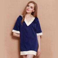 Women Sexy Sleepshirt Night Gown Satin Sleep Shirt Sleeveless Home Clothes V Neck Night Shirt Summer
