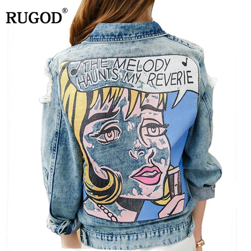 RUGOD Vintage Funny Print Jean Jacket Women Ripped Hole Long Sleeve Bomber Jackets Casual Spring Autumn Short Denim Jacket