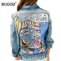 RUGOD 2018 Vintage Funny Print Jean Jacket Women Ripped Hole Long Sleeve Bomber Jackets Casual Spring Autumn Short Denim Jacket
