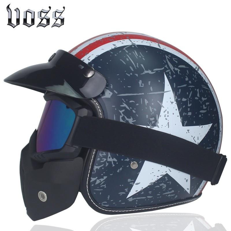 Hot VOSS Motorcycle Helmet Retro Vintage Helmet Face Retro 3/4 Half Helmet Helmet casco moto capacete Harley Motocross