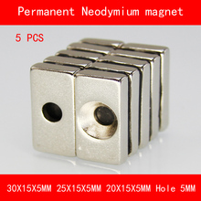 5PCS rectangle magnet 30*15*5MM 25*15*5MM 20*15*5MM hole 5MM n35 Rare Earth strong Permanent NdFeB Neodymium Magnet