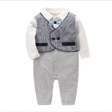 2019 new spring and autumn baby boy rompers gray fake two gentleman jumpsuit romper to give a gift for 0-2 years old