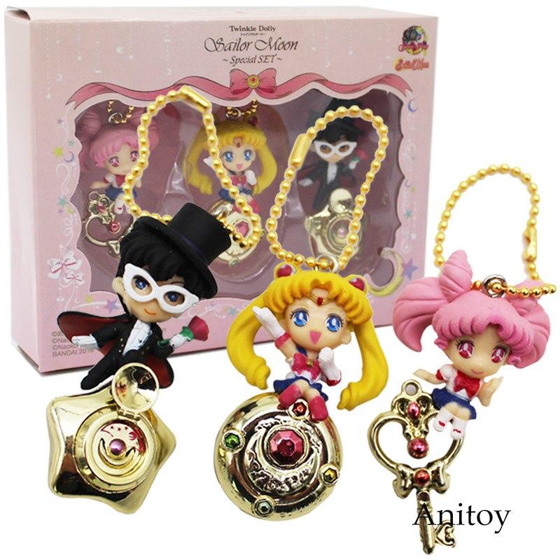 Sailor Moon Tsukino Usagi Chibi Usa Tuxedo Mask Chiba Mamoru PVC Figures Toys Pendants Keychains 3pcs/set 5cm new lepin 21009 632pcs genuine creative series the out of print 1 17 racing car set building blocks bricks toys